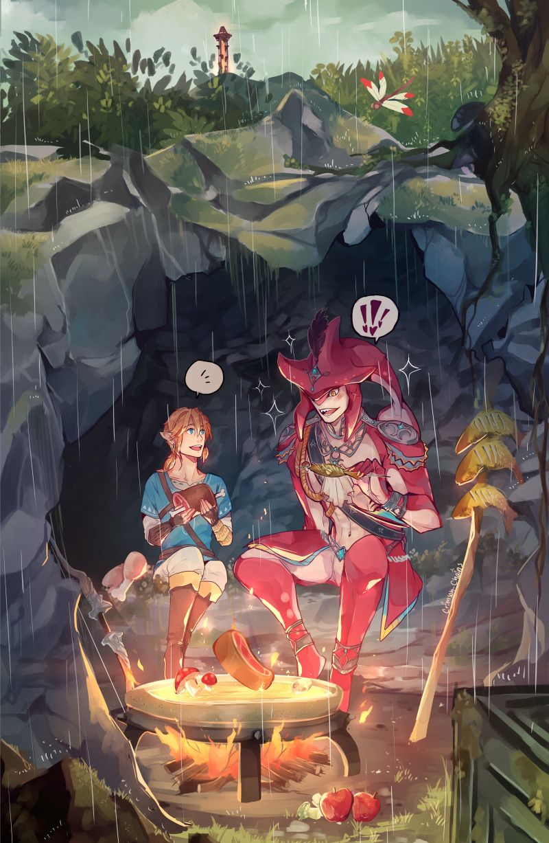A rainy meal time <3 I just got the chance to play botw an meet this glorious fish man and I'm STILL IN LOVE by crimson-chains #fishmeal