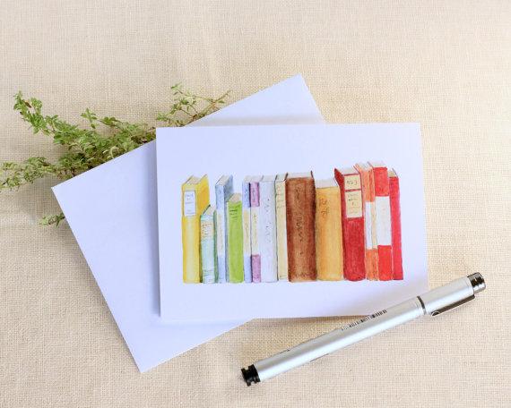 Single Watercolor Library Book Blank Note by PebbleCreekPrints