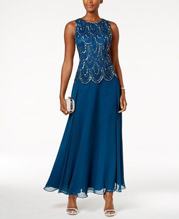 J Kara Embellished Scalloped A-Line Gown | macys.com | Wedding ...
