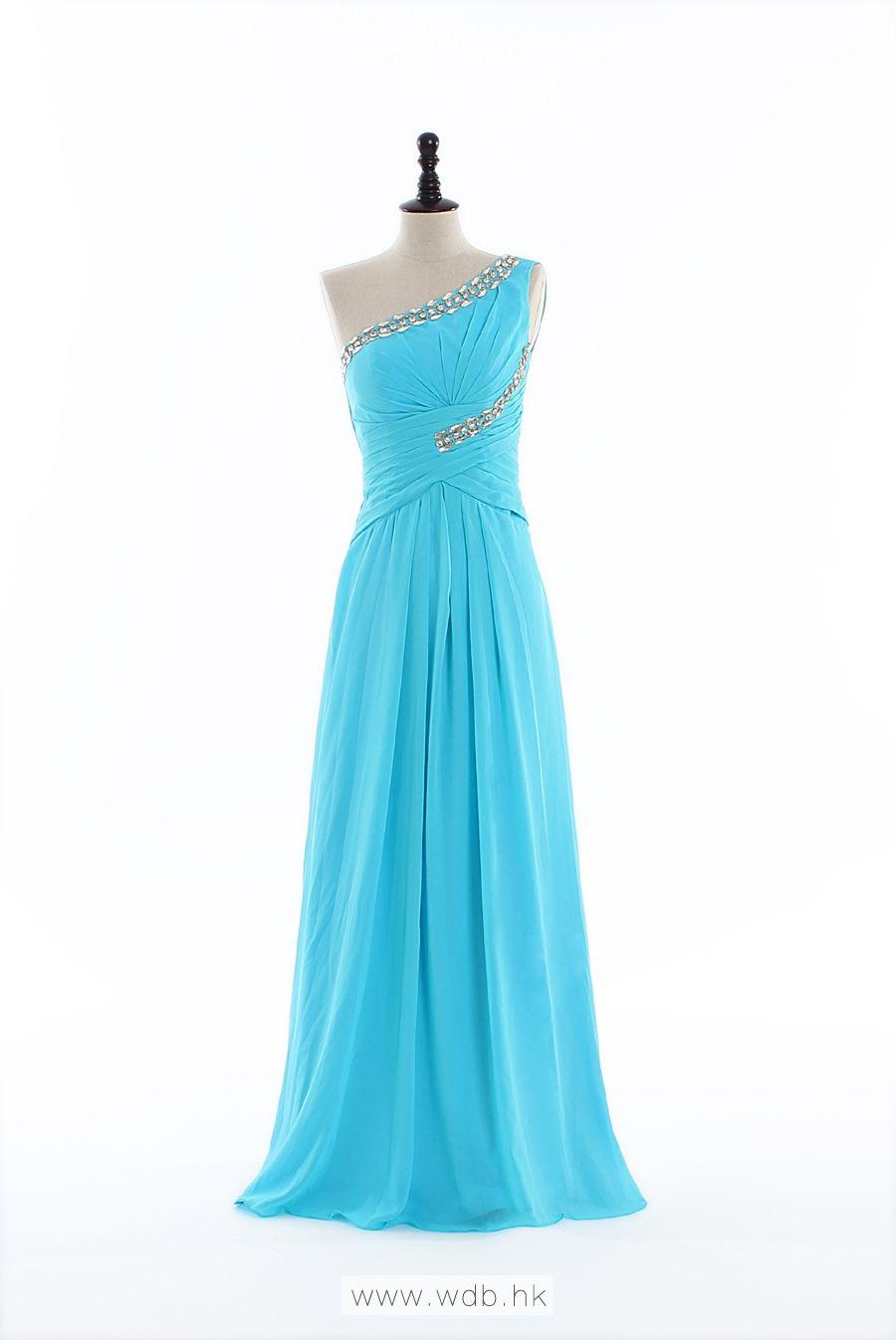 Shiny Single Shoulder Chiffon Dress $138.98\