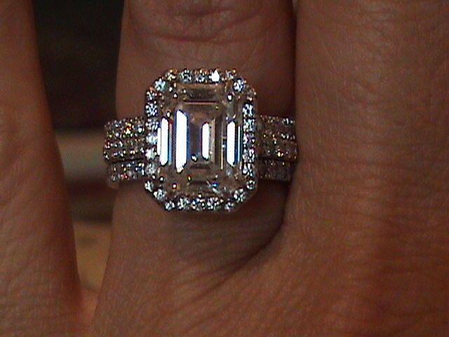 Tiffany And Company   Emerald Cut Diamond Engagement Ring Micro Pave Setting