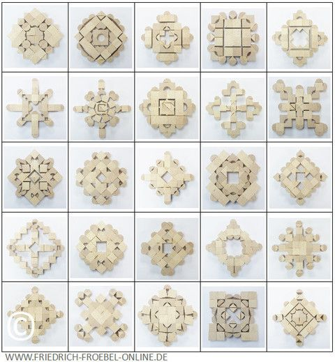 """Fröbel developped different sets of  toy blocks. Here are his so-called """"beauty forms"""" laid with the """"play-givings 5 B""""."""