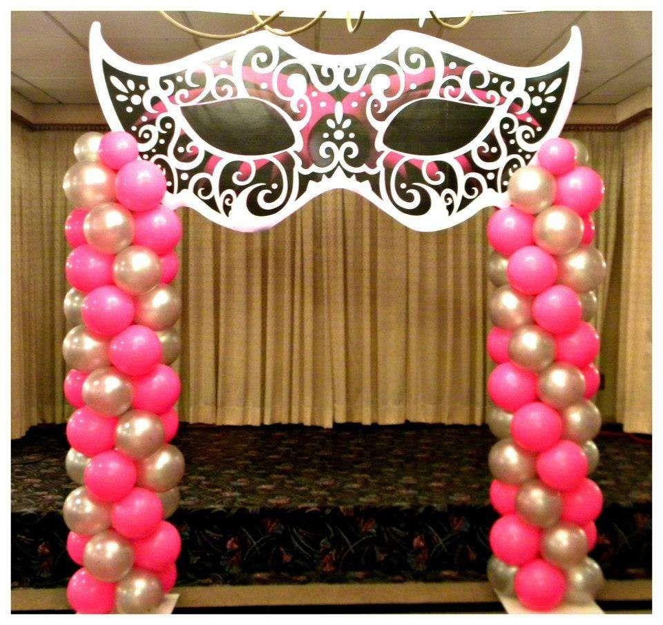 Masquerade sweet 16 quincea era party ideas sweet 16 and for Balloon decoration for quinceanera