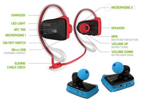 Zte Stratos Red Cellet Sports Fit Bluetooth V4 1 Stereo Hands Free Headset With Nfc Con Wireless Headphones For Running Waterproof Headphones Sports Headphones