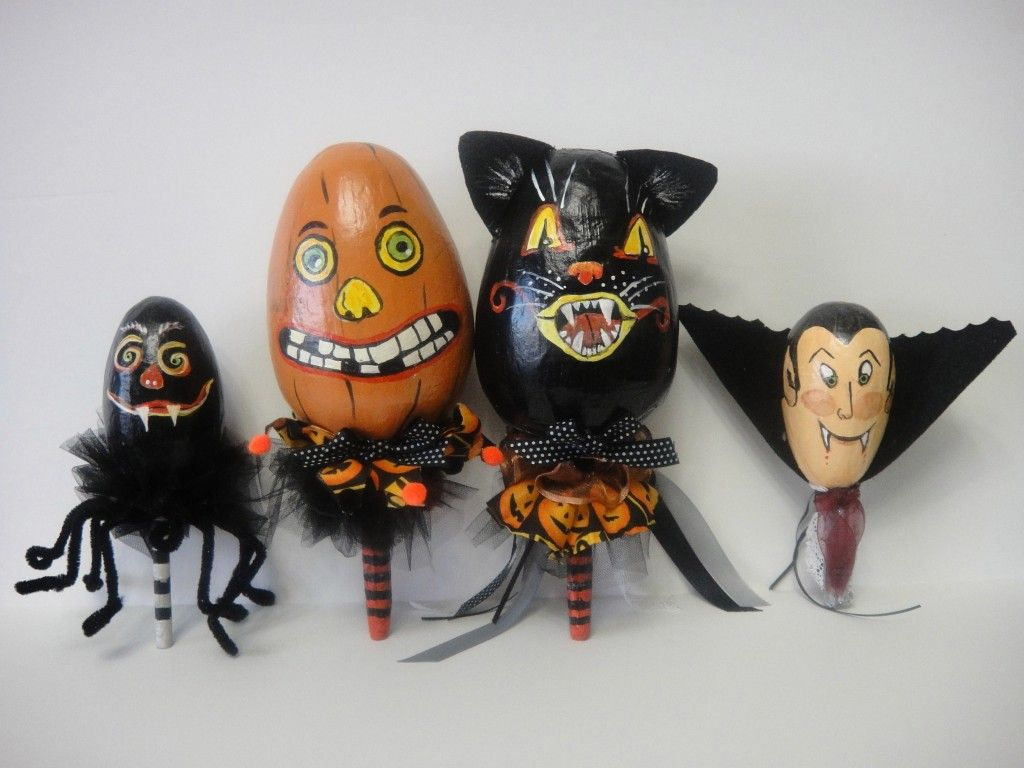 Halloween Noise Makers made from decorated paper mache eggs
