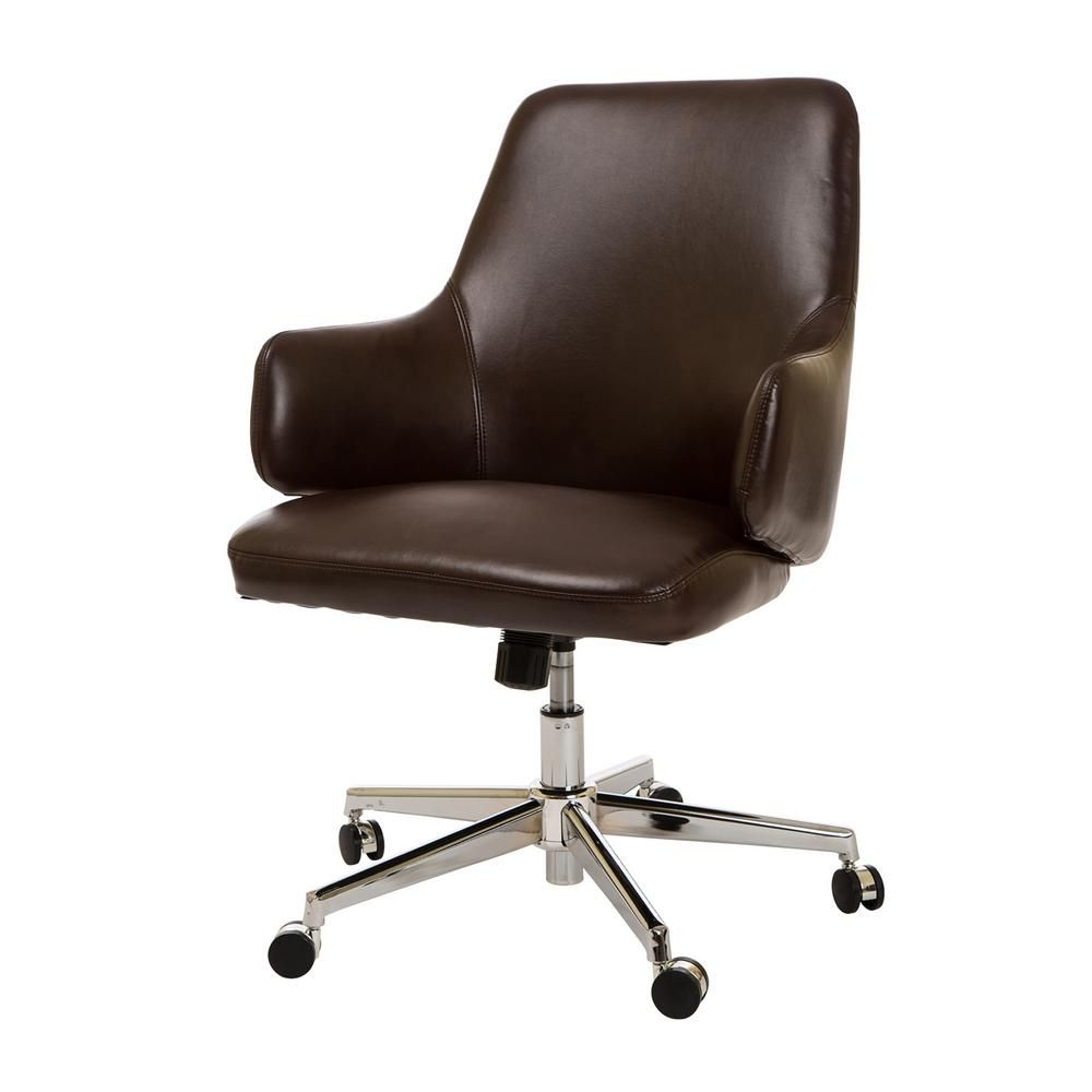Glitzhome Mid Century Modern Coffee Bonded Leather Gaslift Adjustable Swivel Office Chair 1009202148 The Home Depot Adjustable Office Chair Office Chair Chair