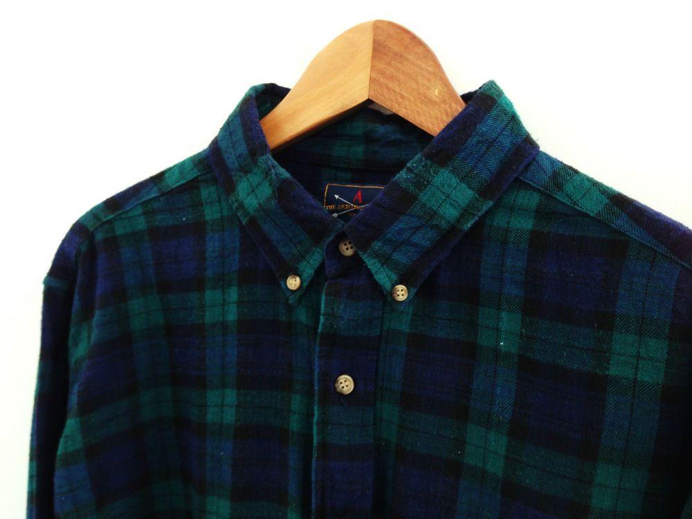 Vtg blue green tartan Oxford flannel shirt / L / 90s skate loose classic grunge £25.50
