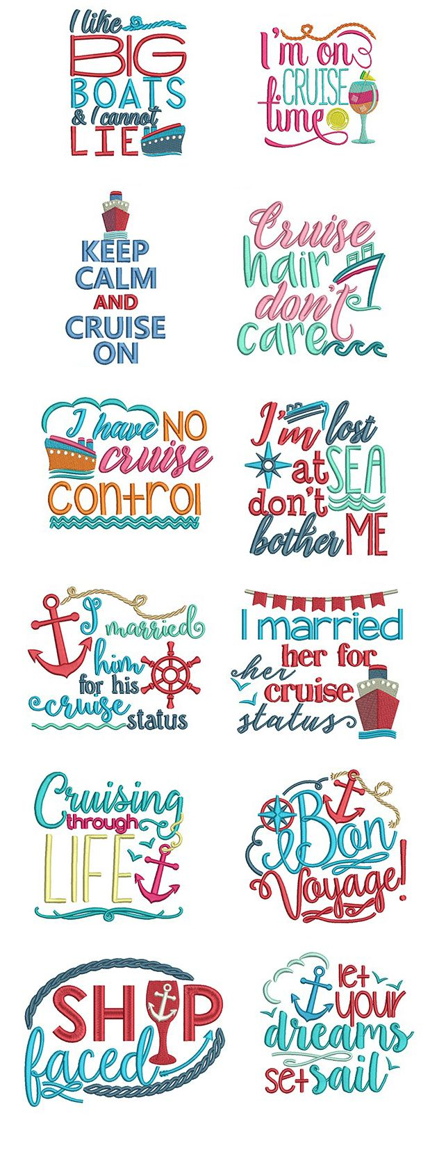 Available in a range of different colour designs instant downloadable - Cruise Lovers Word Art Design Set Is Available For Instant Download At Designsbyjuju Com