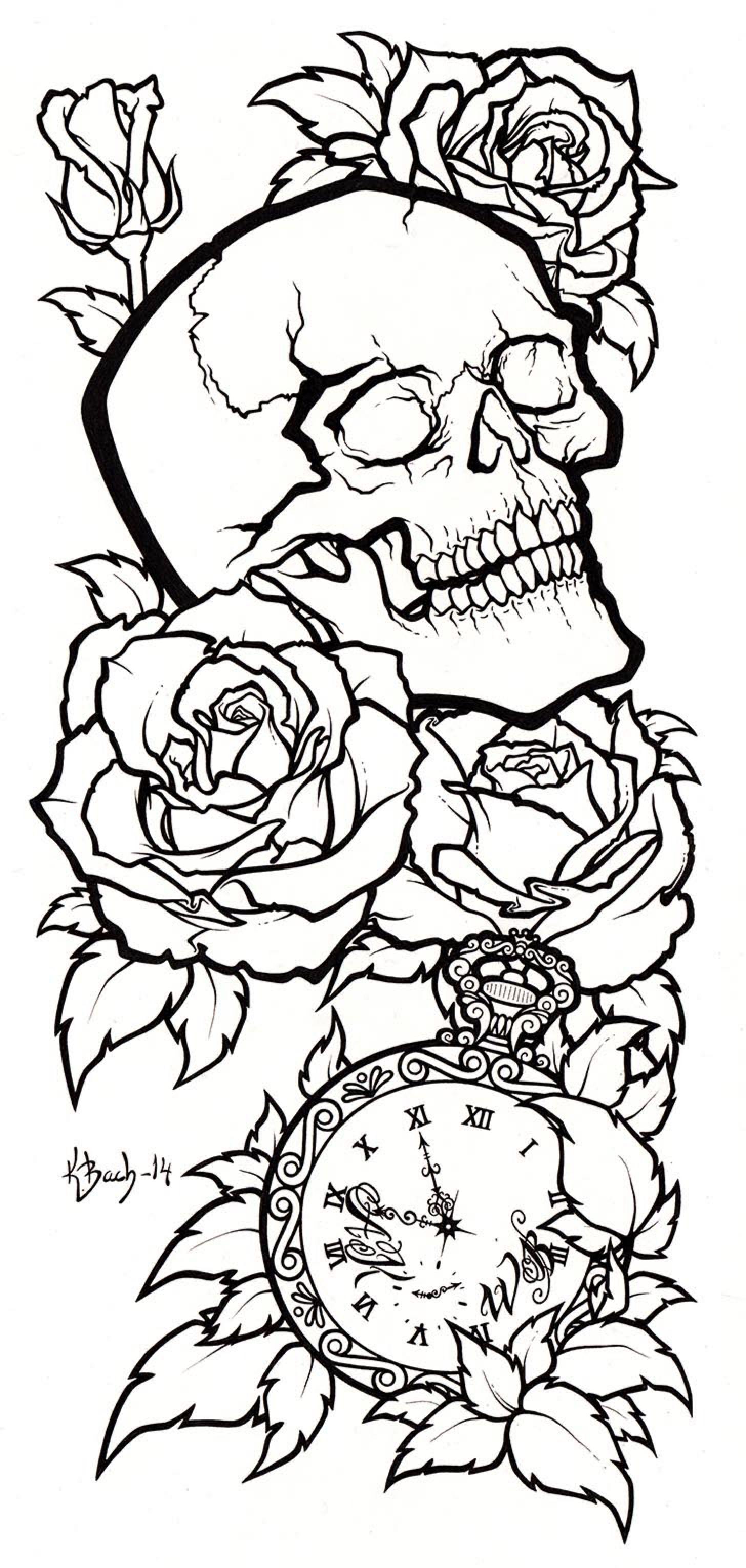 Skull Tattoo Design Lineart By Blueundine On Deviantart