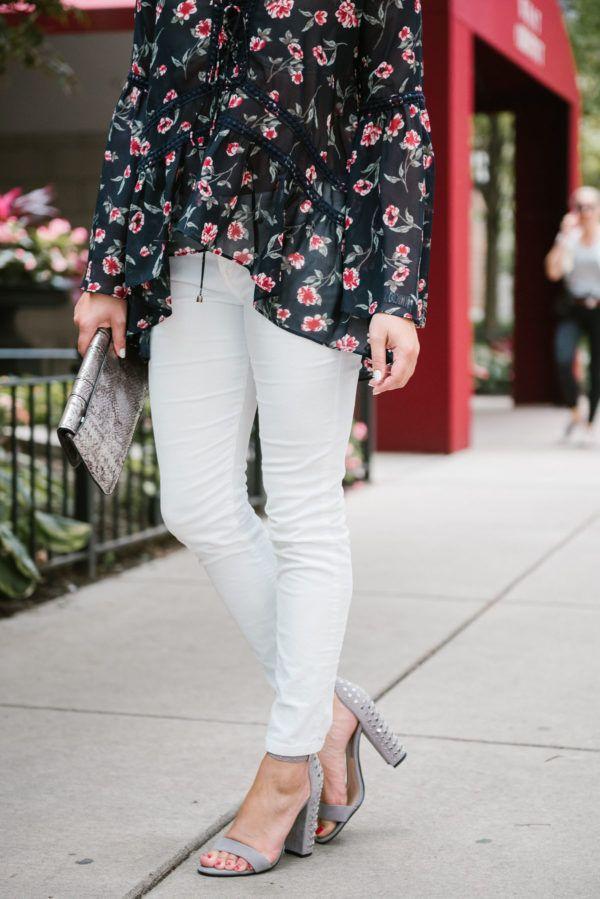 4b3ba752880 Flowy Floral Blouse + White Corduroy Denim