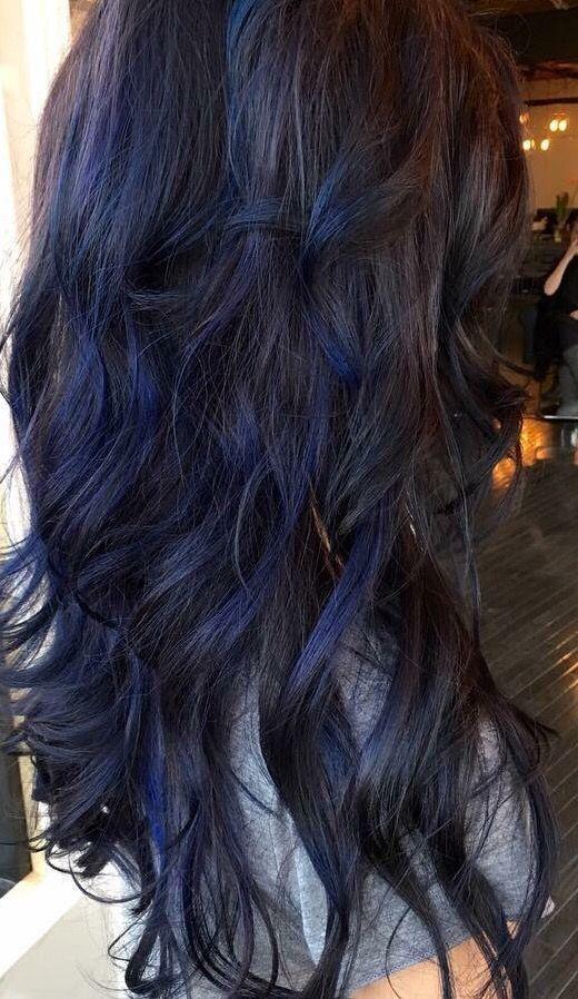 Dark Brown Hair With Blue Highlights Hair Cabelo Pinterest