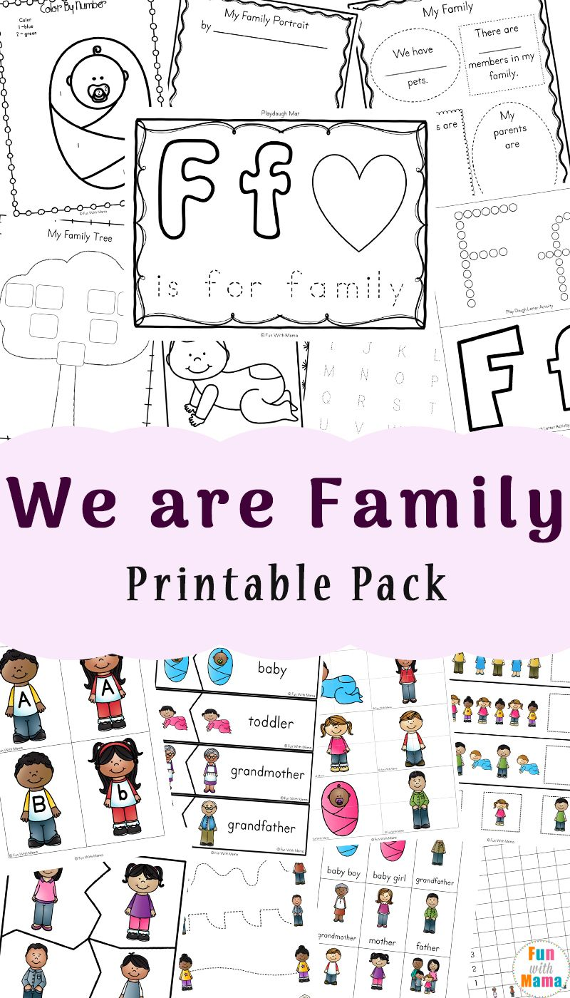 Family theme preschool and family worksheets for