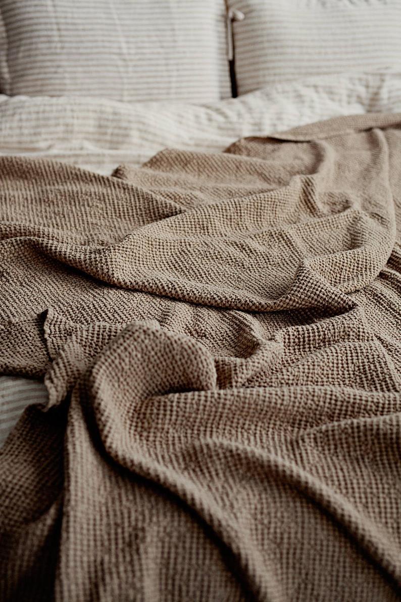 Linen Blanket Soft Linen Throw Linen Bed Cover Waffle Linen Throw Linen Throw Linen Throw Blanket