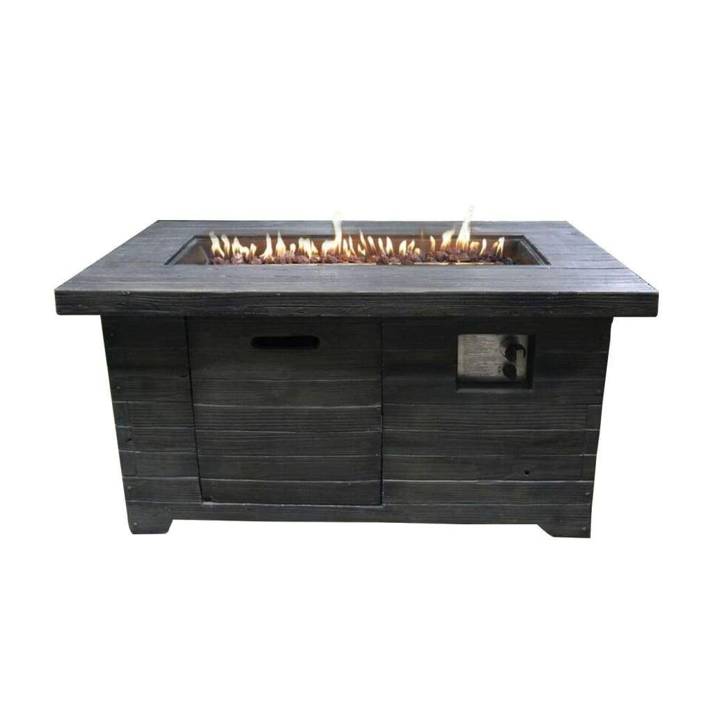 Rectangular Wood Look Gas Powered Fire Pit With Lava Rocks Gray By Casagear Home In 2020 Rectangular Gas Fire Pit Propane Fire Pit Table Fire Pit Walmart