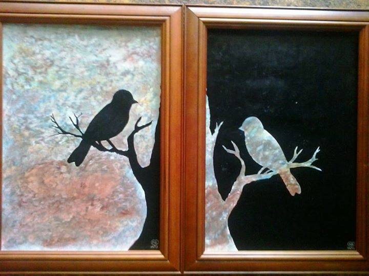 the two of them together both painted in acrylic
