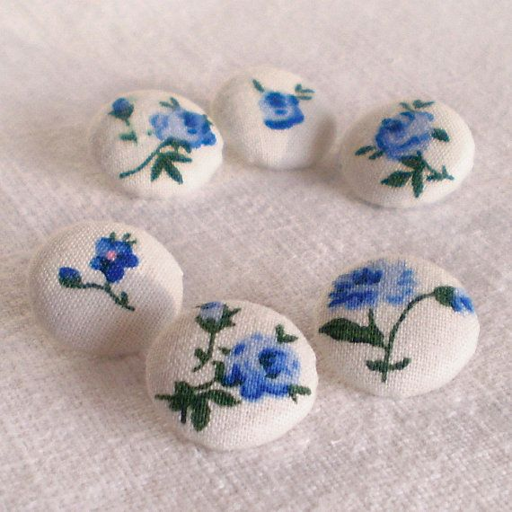 Fabric Covered Buttons  Blue Roses  6 Small Blue by PatchworkMill, $3.50