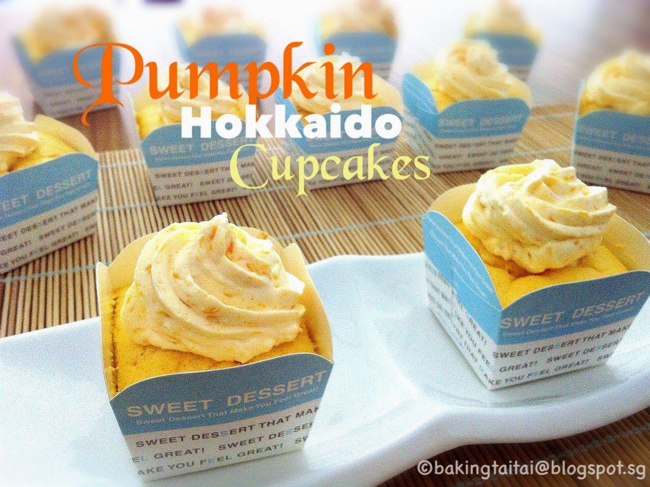 Japanese Hokkaido Cake Recipe: Baking Taitai: Pumpkin Hokkaido Chiffon Cupcake