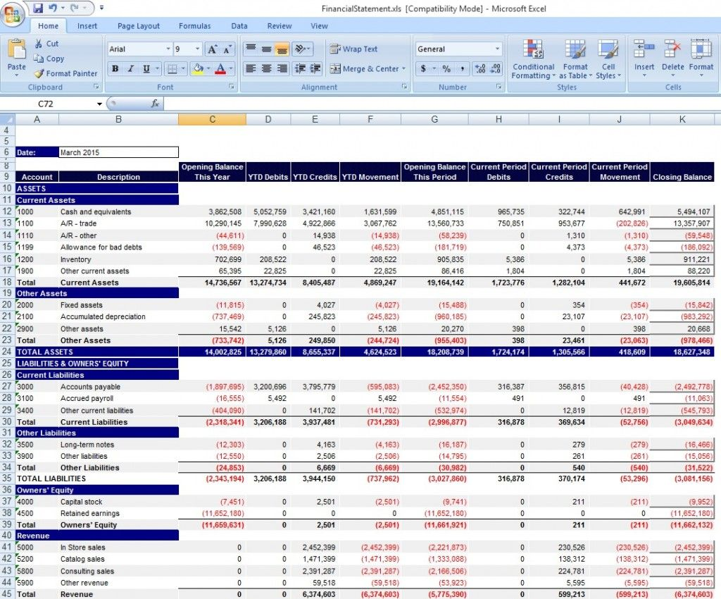 Financial Statement Template Excel  Excel Templates