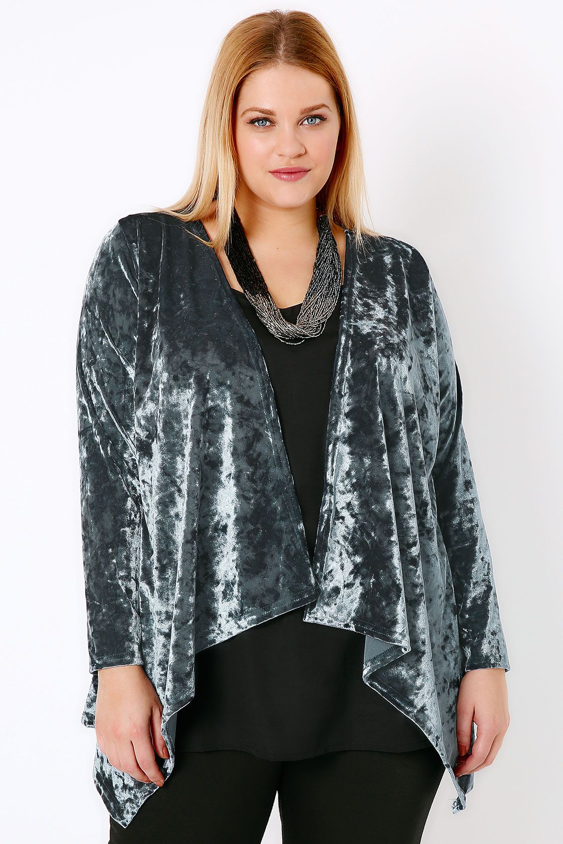 Blue Grey Crushed Velvet Waterfall Cardigan | Blue grey, Size 16 ...