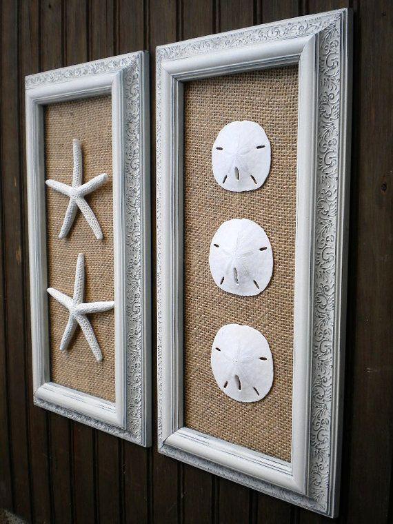 Coastal Decor Cottage Chic Framed Starfish Wall Art Dorm Wall