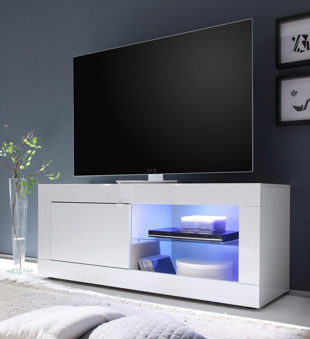 Meuble Tv Design 1 Porte Avec Clairage Coloris Blanc Agathe  # Matelpro Meuble Tv