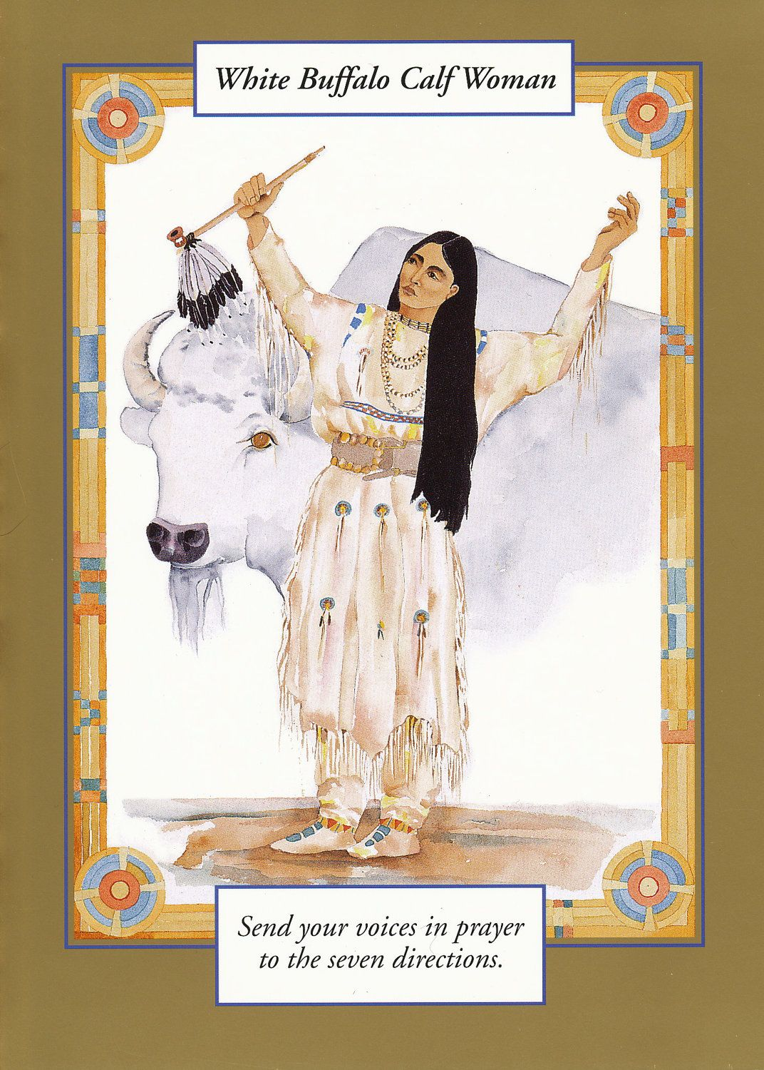Buffalo calf woman google search animal totem buffalo white buffalo calf woman greeting card watercolor spiritual saints and sages title white buffalo calf woman size 5 x 7 inches kristyandbryce Choice Image