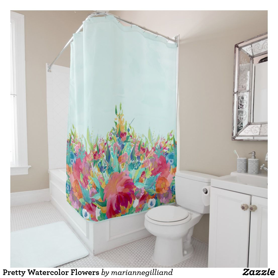 Pretty Watercolor Flowers Shower Curtain