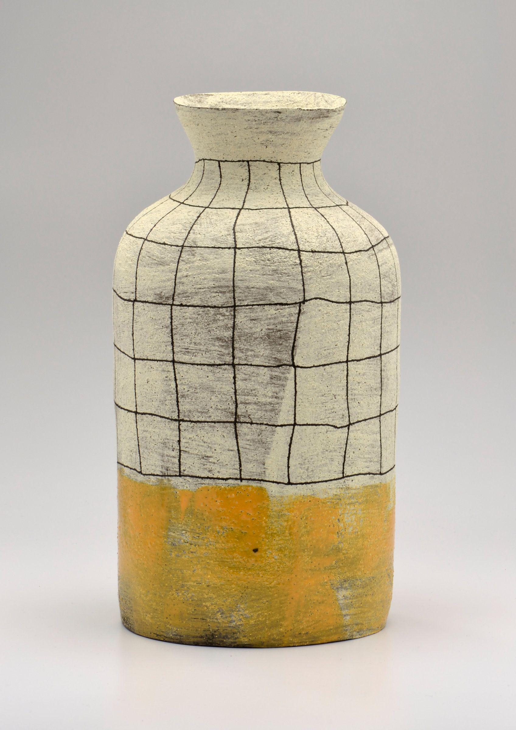 Flared lip crosshatch vase in yellow by boyan moskov ceramic vase flared lip crosshatch vase in yellow by boyan moskov ceramic vase artful home reviewsmspy