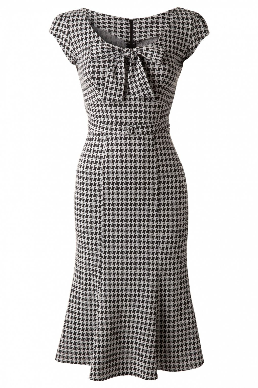 Exclusive ~ 60s Grande Black White Houndstooth wiggle dress #vintagedresses