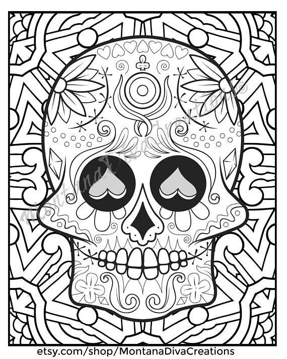 Sugar Skull Mandala Coloring Pages Immediate Digital Download v10 ...