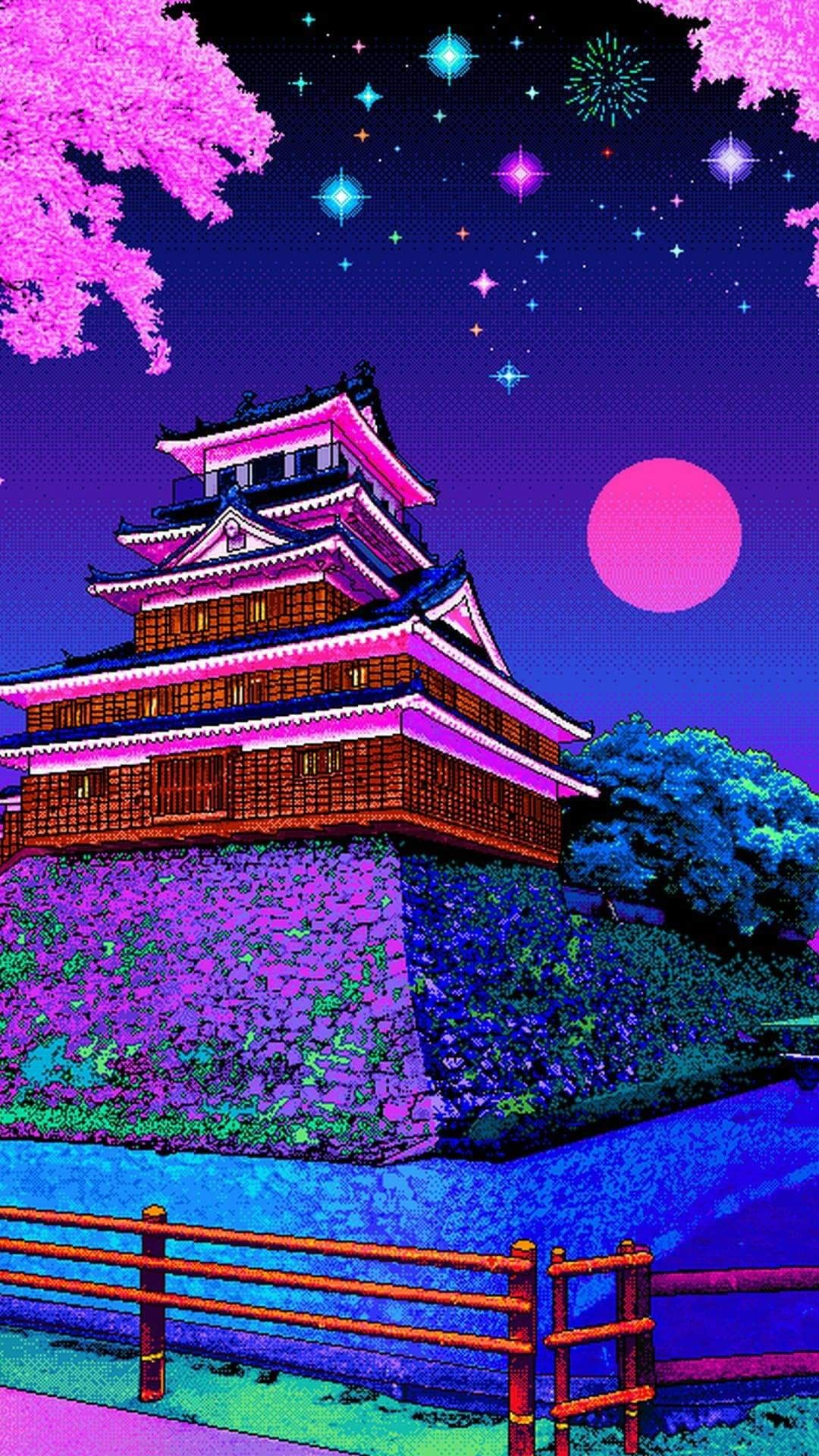 Night in Japan Vaporwave wallpaper, Vaporwave art, Pixel art