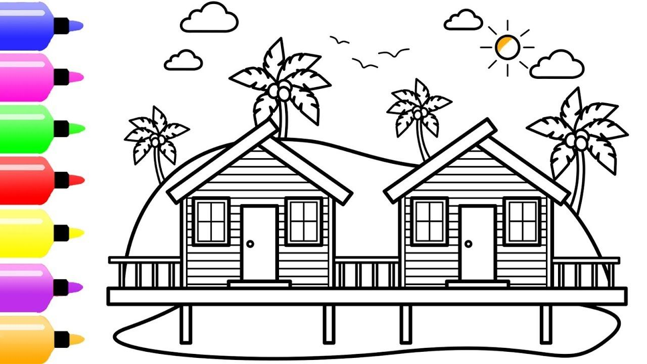 How to draw a beach houses for kids with colored marker summer coloring page for kids