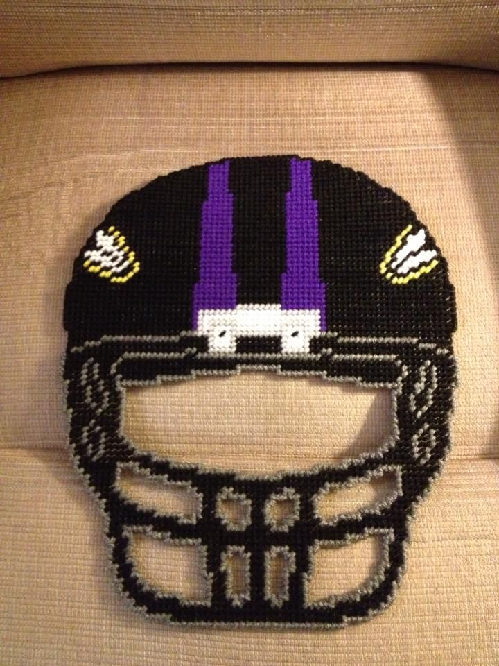 Baltimore Ravens Nfl Frontal View Helmet In Plastic Canvas