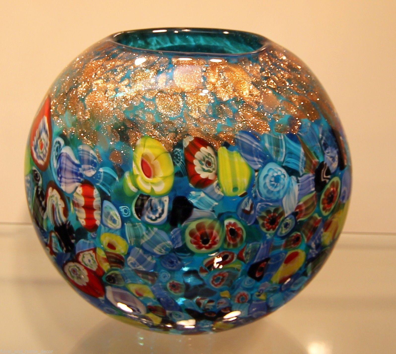 New 7 hand blown glass murano art style vase blue italian new 7 hand blown glass murano art style vase blue italian millefiori multicolor ebay reviewsmspy