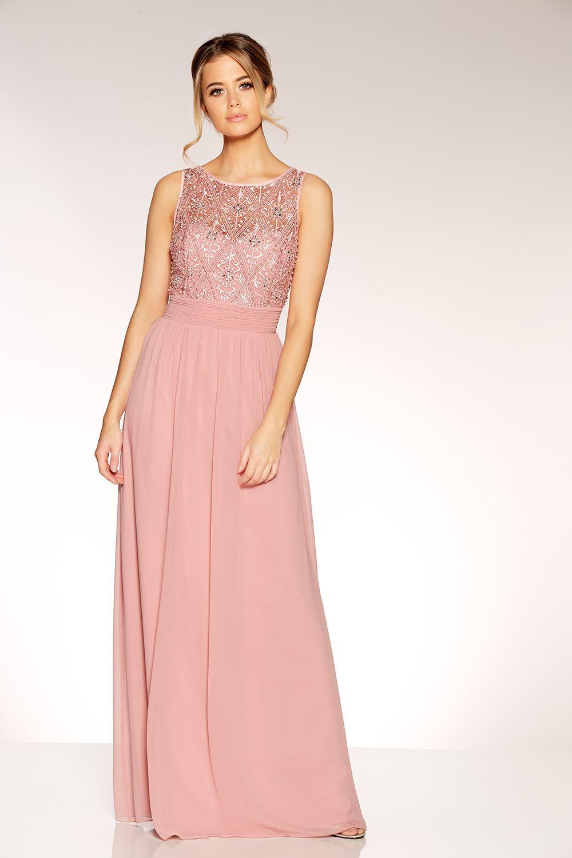 Rose pink pearl chiffon high neck dress