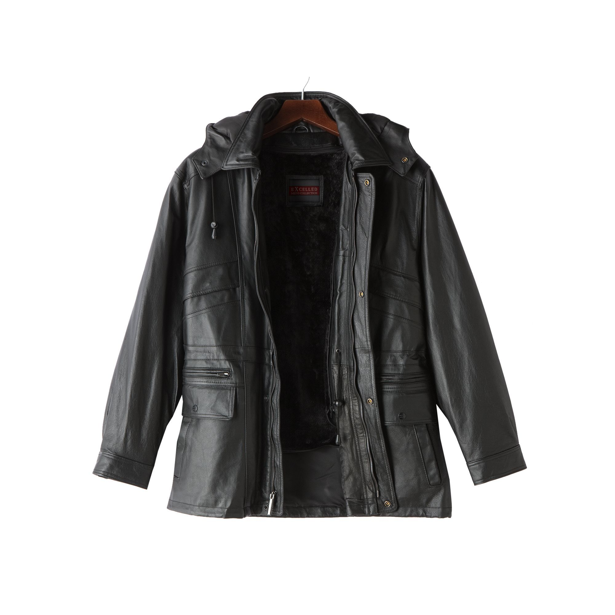 Big & Tall Excelled Hooded Leather Parka, Black | Big & tall ...