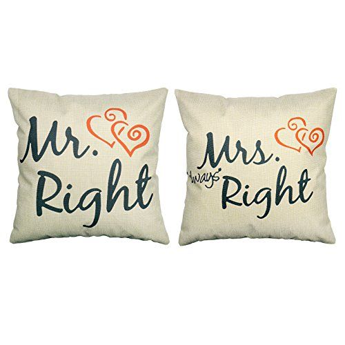 Luxbon 2er Set Mr Right Mrs Always Right Kissenbezug Sofa