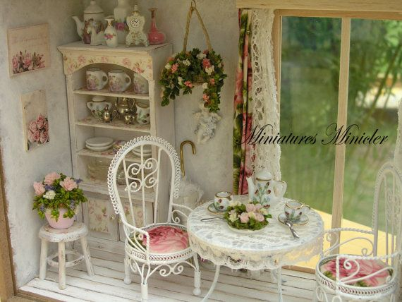 dollhouse miniature roombox sitting nook by the 39 french window 39 scale 1 12 kreativ. Black Bedroom Furniture Sets. Home Design Ideas