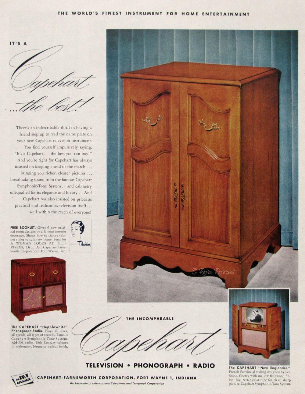 1951 Capehart New Englander Television Cabinet Ad   Retro Wood TV Cabinet    Capehart Symphonic Tone System   Furniture Advertisement