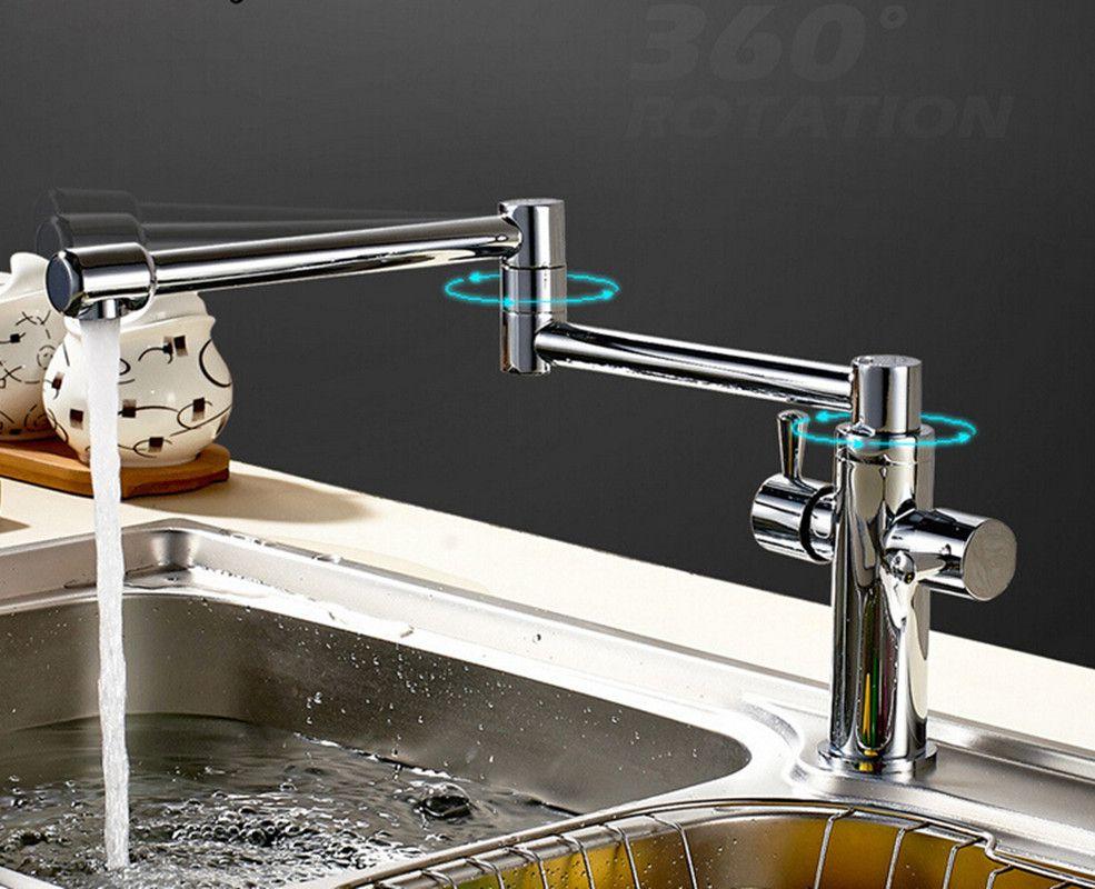 Usherlife Chrome Brass Folding Kitchen Faucet 360 Degree Rotation ...