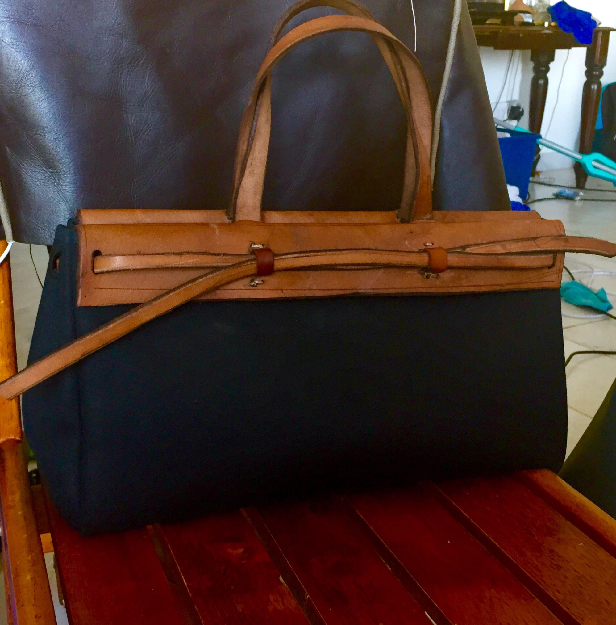 Black canvas and veggie tan leather tote