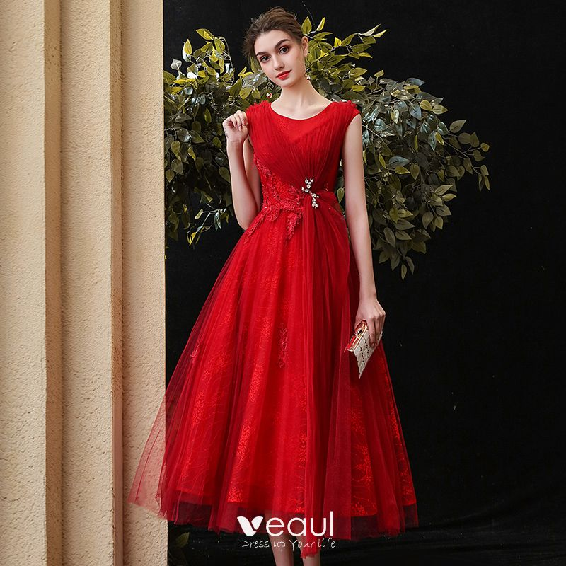 Chic / Beautiful Red Homecoming Graduation Dresses 2020 A ...