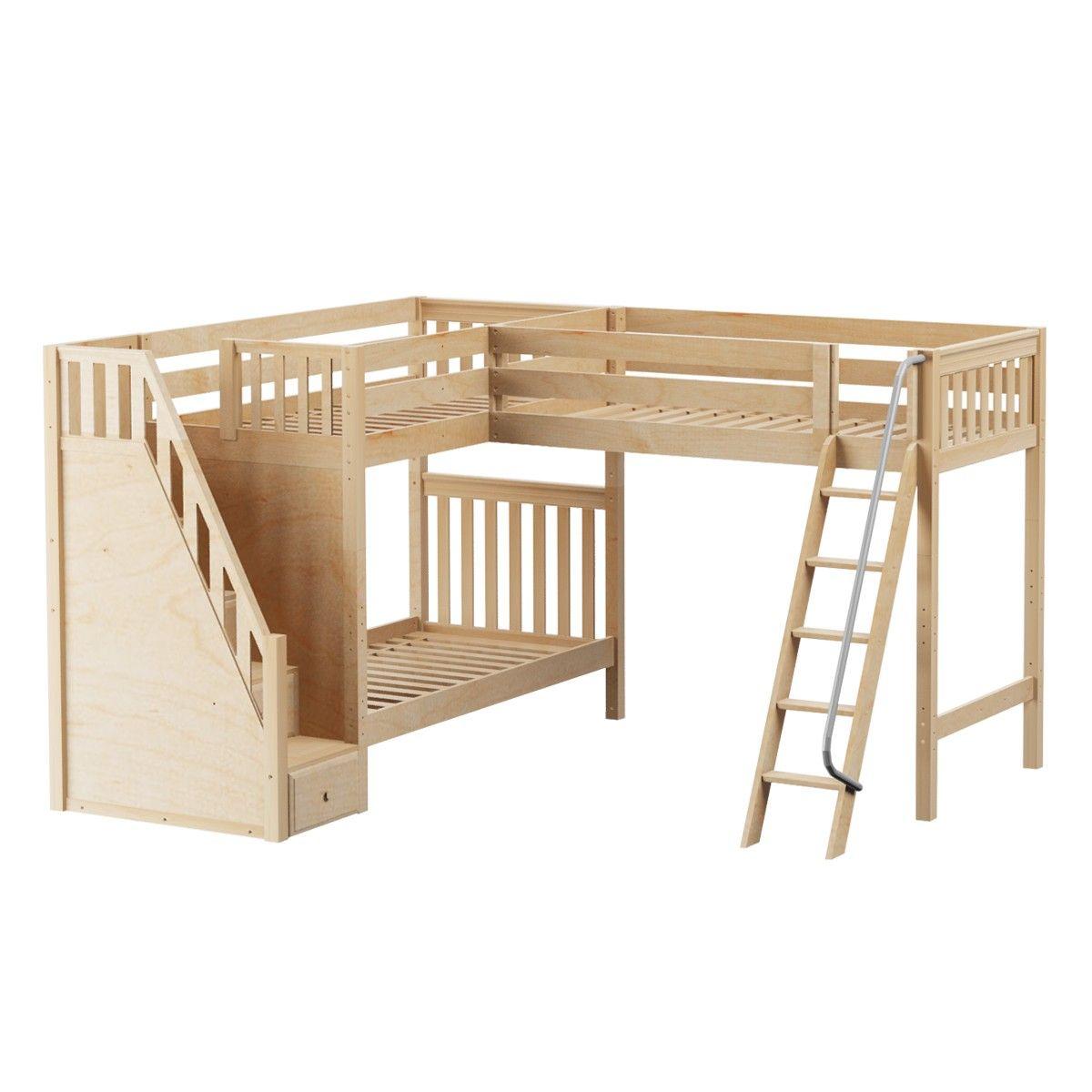 Maxtrixkids trey ns high corner loft bunk with ladder and