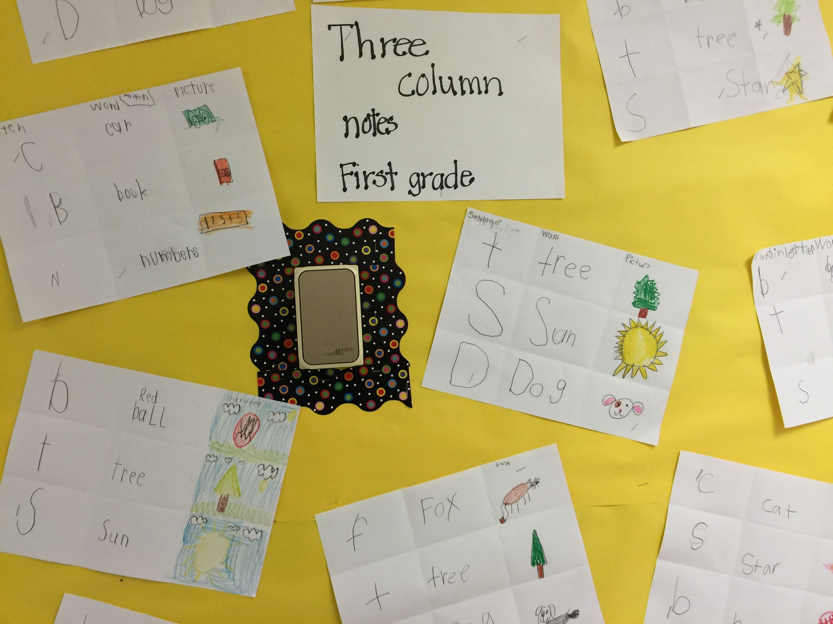 First Graders Learning To Write New Words In Three Column Notes Making Their Own Picture Of The