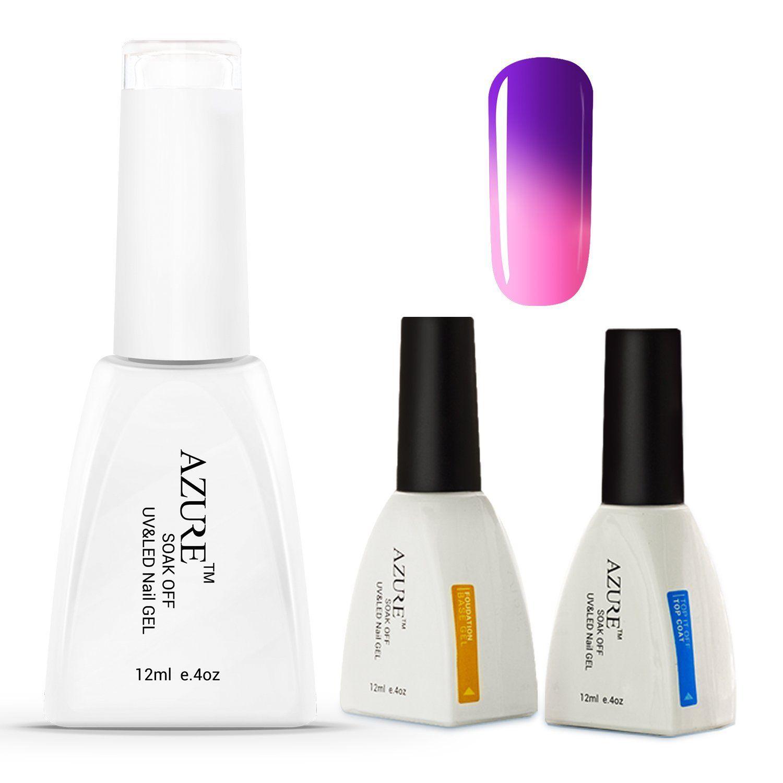 Azure Pcs Soakoff Color Changing UV Gel Nail Polish Top and Base