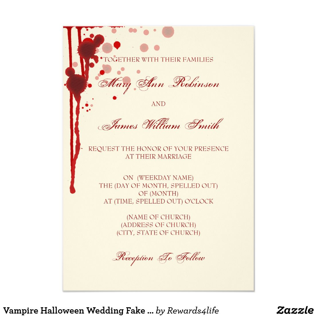 Vampire Halloween Wedding Fake Blood Red Card | Fake blood ...