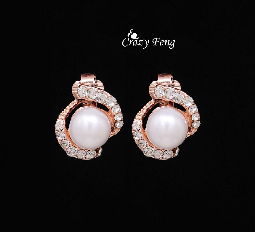 Neue Ankunft Fashion Simulierte Perle Charms Ohrringe Vergoldet Kristall Nette Geschenke Für Party Hochzeit Kostenloser Versand
