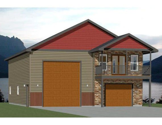 36x42 House 1 Bedroom 1 5 Bath 853 Sq Ft Pdf Floor Etsy House On Stilts Barn With Living Quarters Pole Barn House Plans