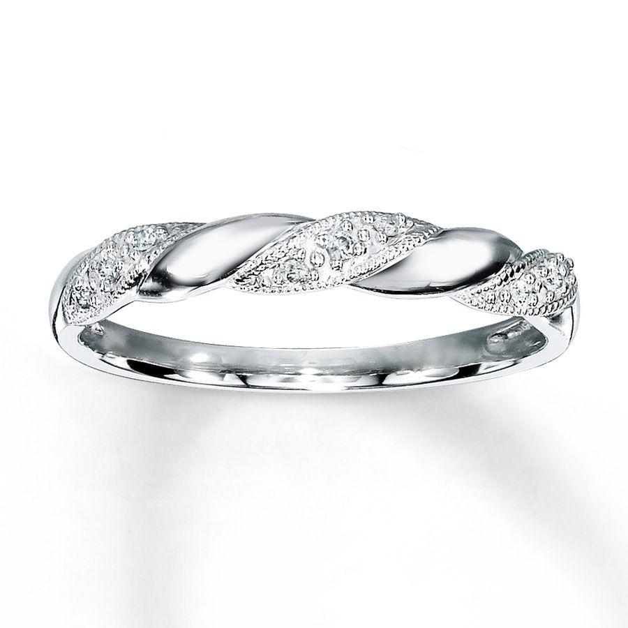 Diamond Anniversary Ring 1/20 Ct Tw Round-cut 10K White