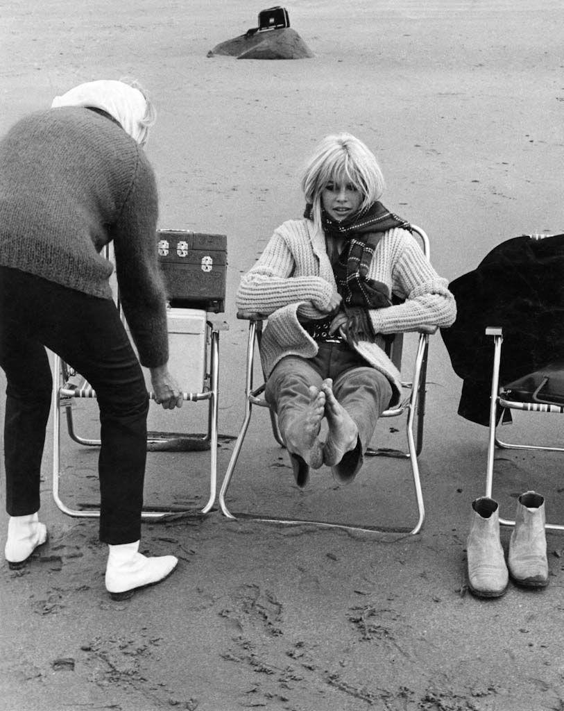 Brigitte Bardot on the cold set of Two Weeks in September.